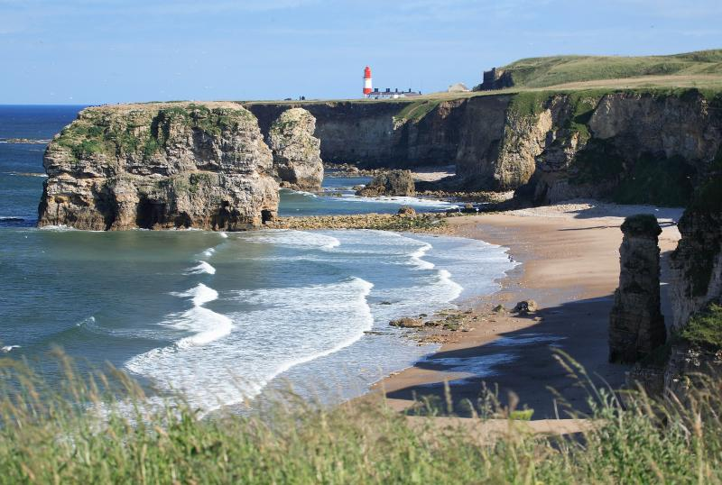 coastal scene in south shields from an isolated beach